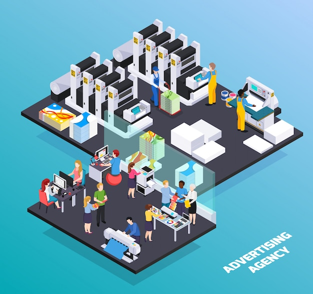 Agência de publicidade, serviços de composição isométrica com designers de anúncios clientes promoção ilustração de corte de produção de casa de impressão
