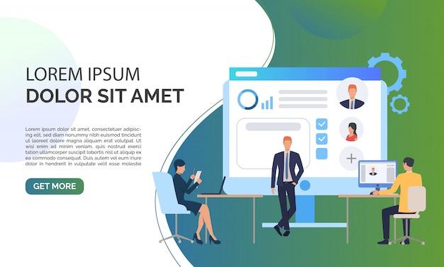 Agência de recrutamento, candidatos e texto de exemplo