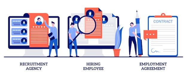 Agência de recrutamento, contratação de funcionários, contrato de trabalho com pessoas minúsculas. conjunto de caça de cabeça. lista de empregos, currículo, cargo vago, formulário de contrato, entrevista.