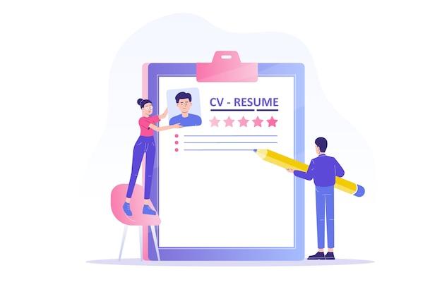 Agência de recrutamento ou headhunting com pessoas criando currículos para candidatos a emprego