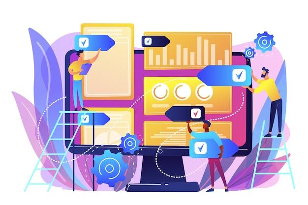 Agência de rp digital aumenta a presença online. estratégia de relações públicas, aquisição de link natural e autoridade de domínio, conhecimento da marca e conceito de classificação de palavras-chave. ilustração isolada violeta vibrante brilhante