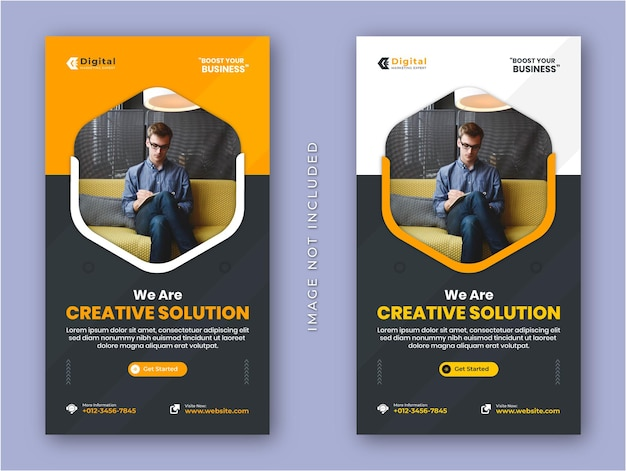 Agência de soluções criativas e panfleto de negócios corporativos, histórias do instagram, postagem na mídia social ou modelo de banner da web