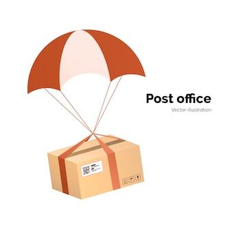 Agência dos correios. serviço de entrega de correio aéreo. packege com etiqueta, código qr. pacote com pára-quedas para envio, ilustração