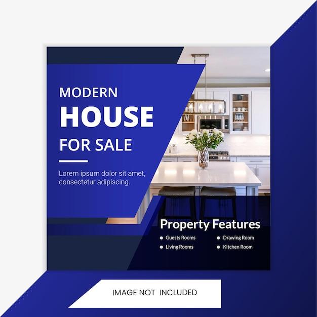 Agência imobiliária quadrada mídia social post e modelo de banner. modelo de post home interior.