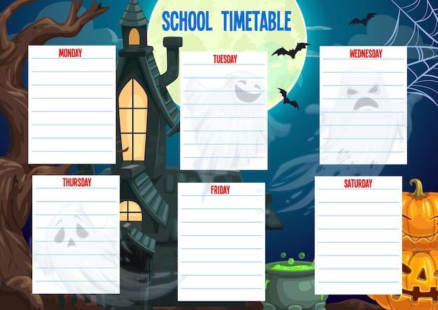 Agenda da escola, planejador semanal de halloween