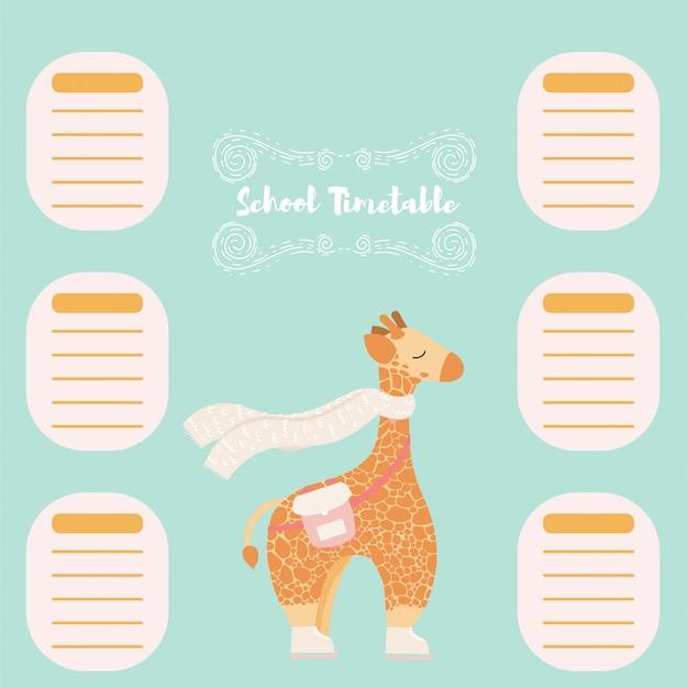 Agenda de horários de escola de volta à escola cute giraffe wearing scarf.