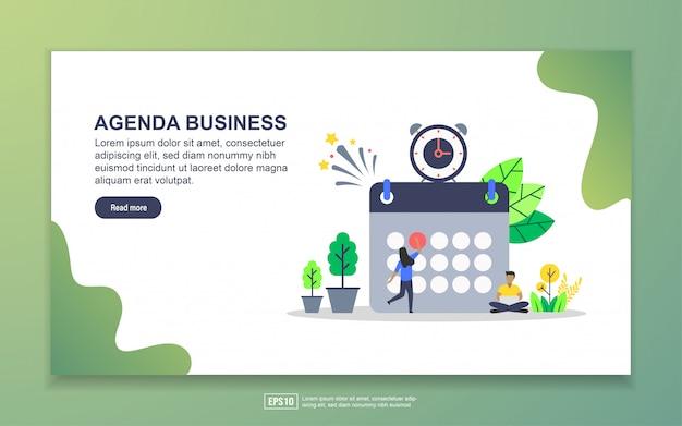 Agenda de negócios com pequena página de destino personagem minúsculo