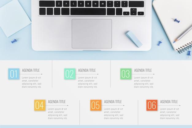 Agenda infográfico conceito de gráfico