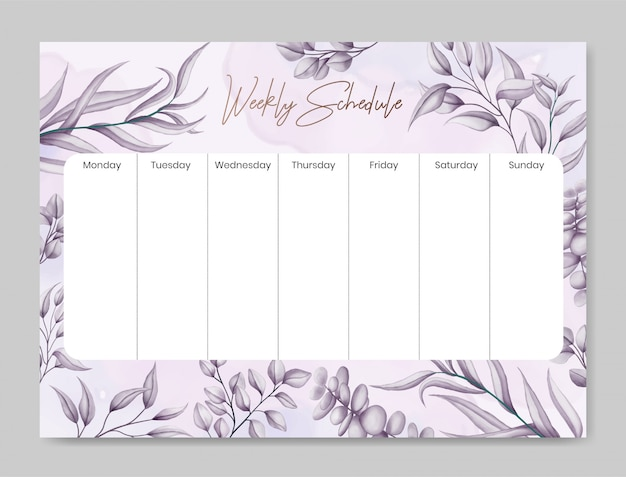 Agenda semanal com fundo floral bonito mão desenhada