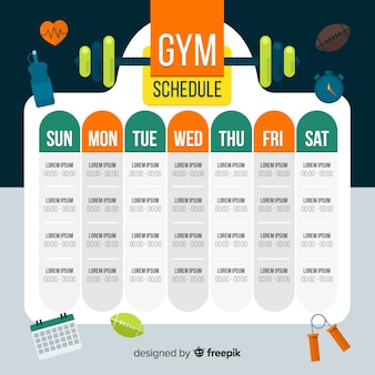 Agenda semanal de ginásio moderno com design plano