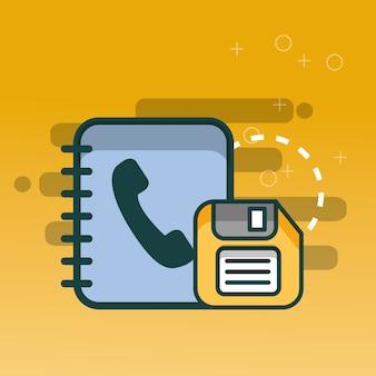 Agenda telefônica e escritório de backup flexível