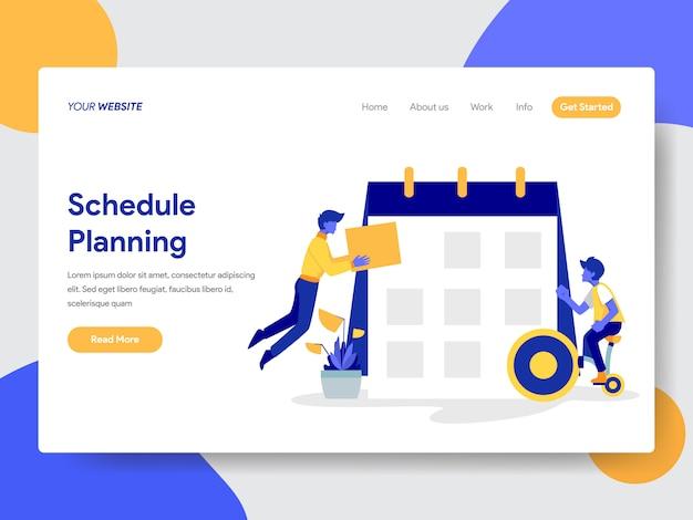 Agendar a ilustração de planejamento para a página da web
