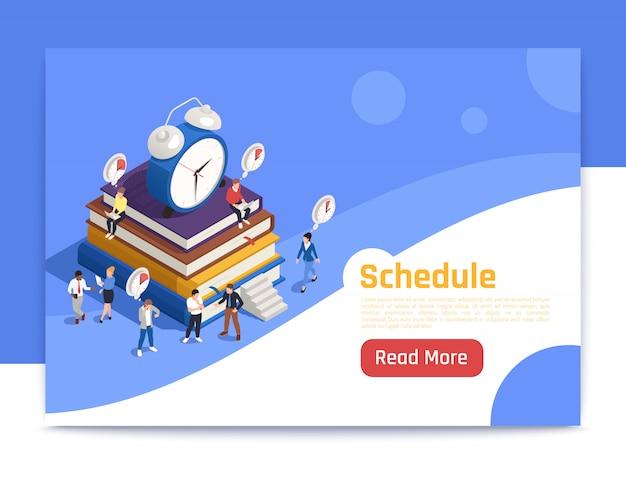 Agendar página de destino isométrica com grande ícone de despertador e pessoas planejando trabalho de rotina