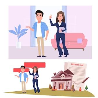 Agente de corretor de imóveis com clientes - ilustração