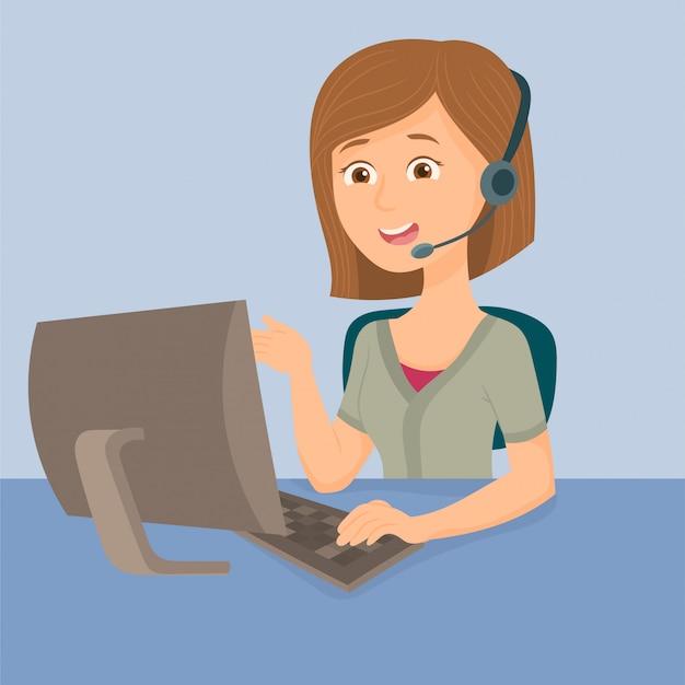 Agente de operador de mulher com fones de ouvido