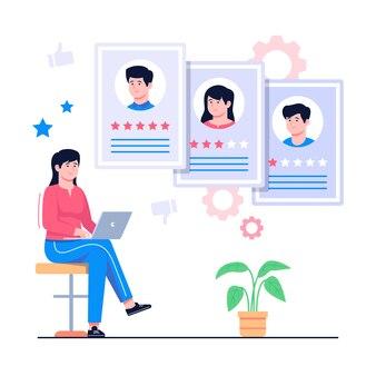 Agente de recrutamento, analisando a ilustração do conceito de candidato