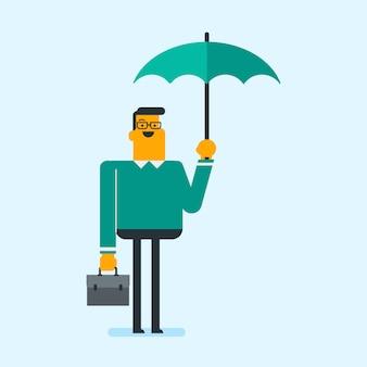 Agente de seguros caucasiano que está sob o guarda-chuva.