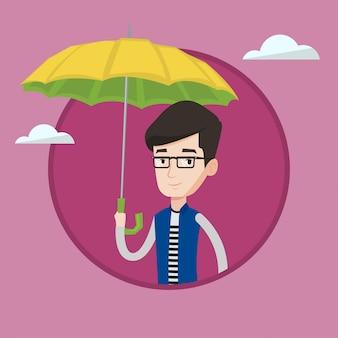 Agente de seguros com ilustração vetorial de guarda-chuva.