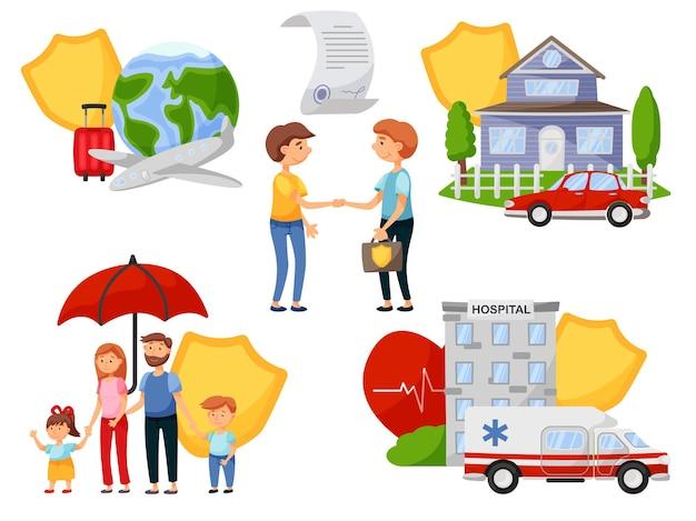 Agente de seguros e pessoas celebram acordo de política de segurança. serviço de saúde médica, seguro de propriedade e viagem para cobrir despesas e danos