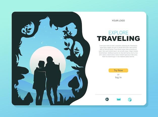 Agente de viagens de negócios. landing page web