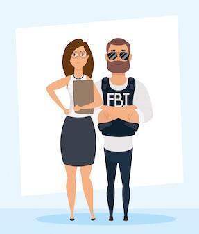 Agente do fbi jovem com personagens de mulher