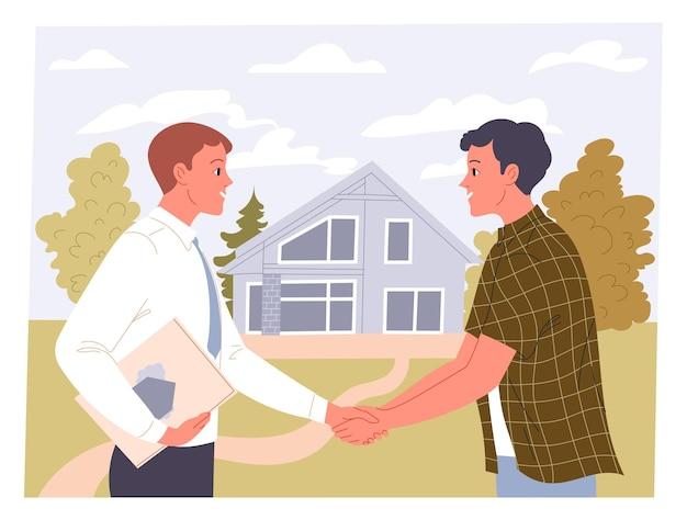 Agente e homem apertam as mãos em uma transação imobiliária