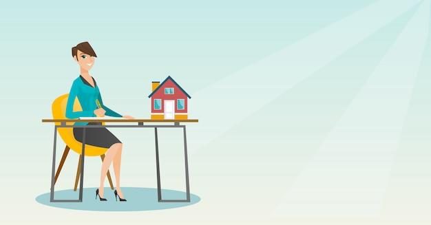 Agente imobiliário assinando contrato de compra de casa.