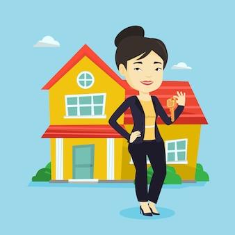 Agente imobiliário com chave
