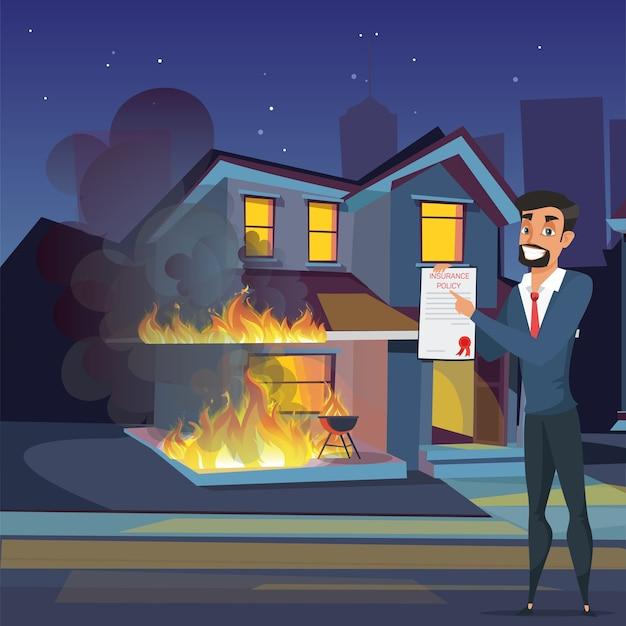 Agente imobiliário com ilustração plana de seguro contra incêndio, o gerente de propriedade do agente fica perto da casa em chamas. cobertura de incêndio, seguro de incêndio criminoso, gerente do sexo masculino apresenta contrato, proteção de propriedade