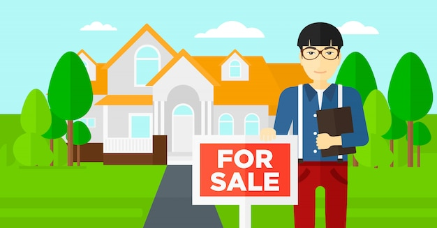 Agente imobiliário oferecendo casa.
