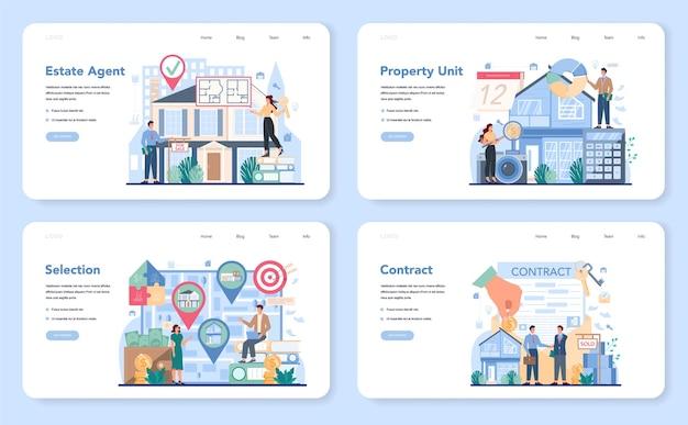 Agente imobiliário qualificado ou banner da web de corretor de imóveis ou conjunto de páginas de destino