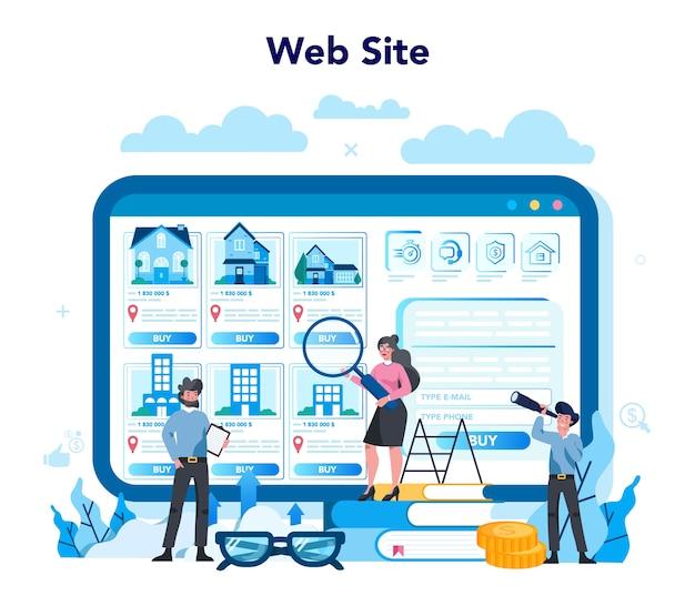 Agente imobiliário qualificado ou serviço ou plataforma online de corretor de imóveis