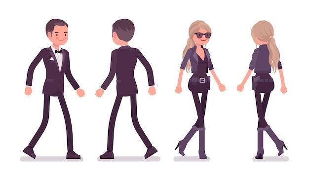 Agente secreto homem e mulher caminhando