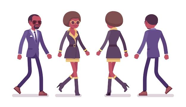 Agente secreto, homem e mulher, espiões caminhando