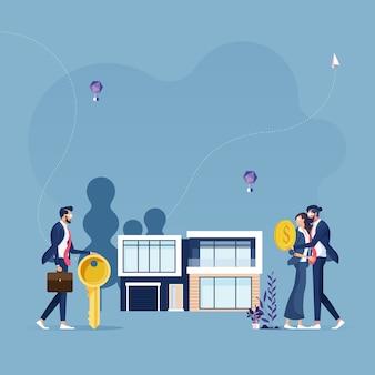 Agente, segurando a chave na mão e vende, alugar casa para família-negócios imobiliários conceito