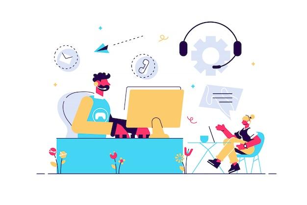 Agentes de contact center com fones de ouvido trabalhando em computadores. contact center, ponto de atendimento ao cliente, conceito de gestão de relacionamento com o cliente. ilustração do vetor de coral vivo isolado