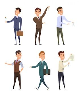 Agentes imobiliários que vendem edifícios diferentes. jogo, de, negócio, caráteres