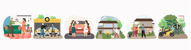 Agentes, revendedores e clientes comprando ou alugando casa nova, carro, motocicleta, conjunto de personagens de desenho animado, apartamento. aluguer de automóveis, casa, compra e venda de imóveis, serviço de mediação imobiliária.
