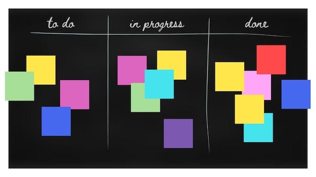 Agile scrum board com adesivos coloridos. conceito de desenvolvimento de trabalho em equipe