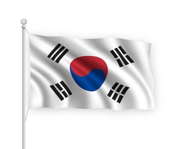 Agitando a bandeira da coreia do sul no mastro isolado no branco