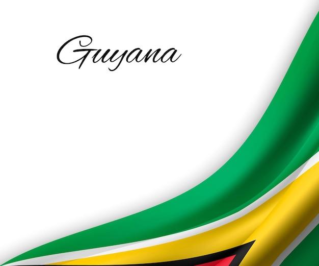 Agitando a bandeira da guiana em fundo branco.