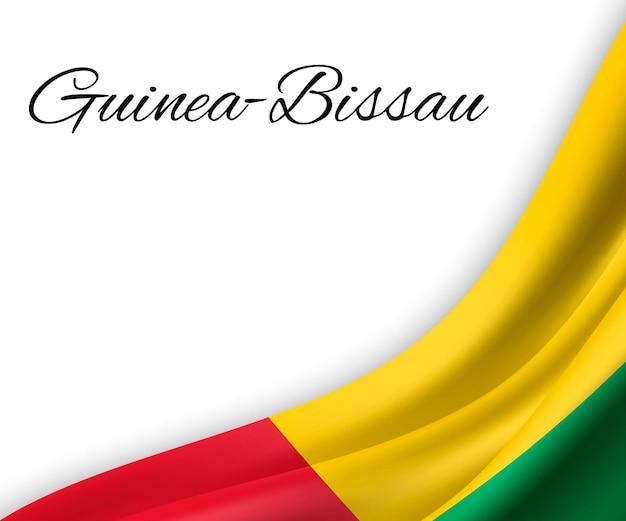 Agitando a bandeira da guiné-bissau em fundo branco.