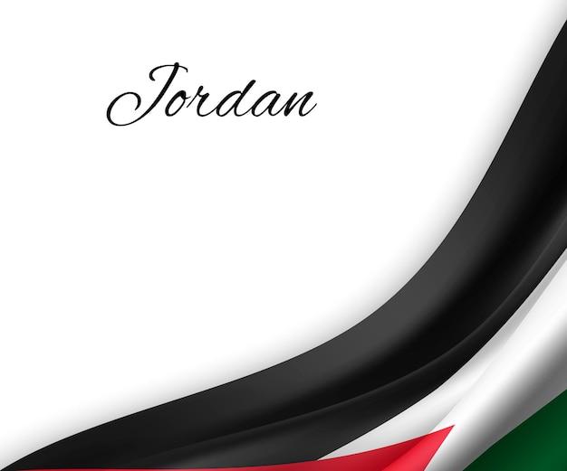 Agitando a bandeira da jordânia em fundo branco.