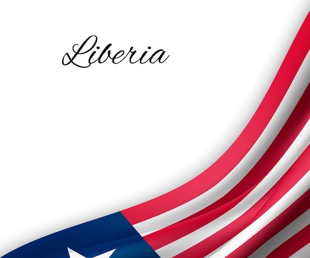 Agitando a bandeira da libéria em fundo branco.