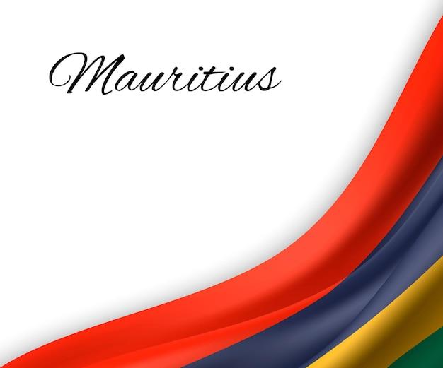 Agitando a bandeira da maurícia em fundo branco.