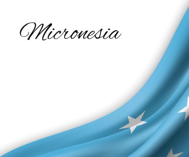 Agitando a bandeira da micronésia em fundo branco.