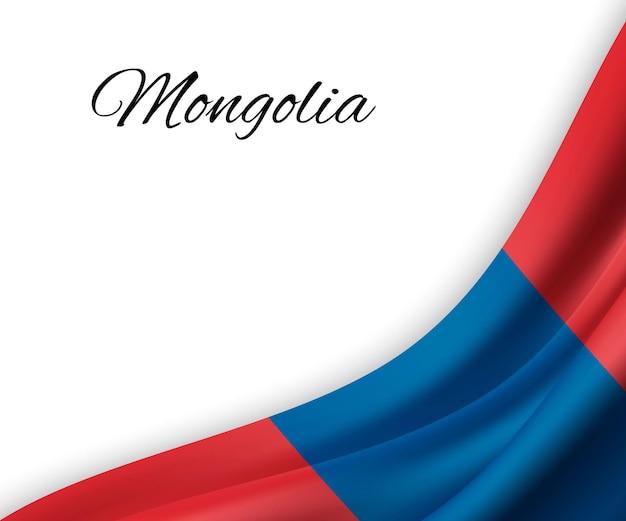 Agitando a bandeira da mongólia em fundo branco.