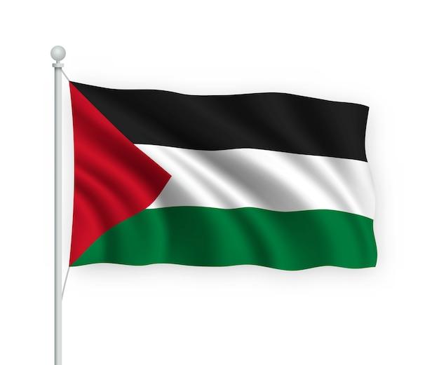 Agitando a bandeira da palestina no mastro isolado no branco