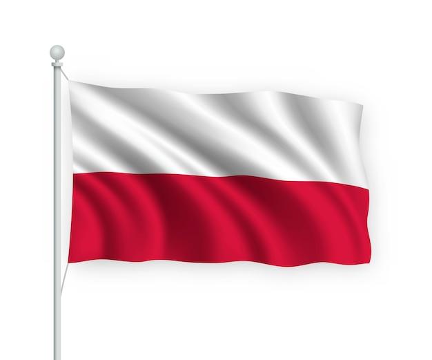 Agitando a bandeira da polônia no mastro isolado no branco