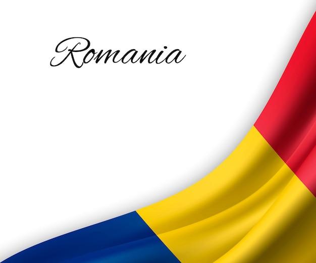Agitando a bandeira da romênia em fundo branco.